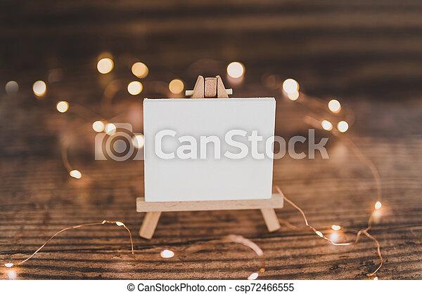 toile, copyspace, miniature, bois, entouré, lumières, bureau noir, fée - csp72466555