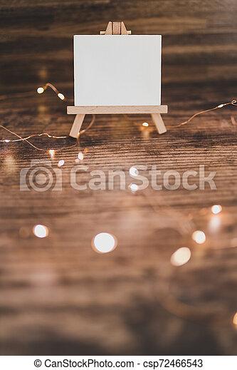 toile, copyspace, miniature, bois, entouré, lumières, bureau noir, fée - csp72466543