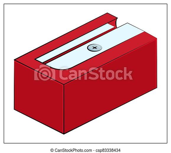 toile, crayon, icône, illustration, vecteur, ui, rouges, icon., plat, app, aiguisoir, conception, logo - csp83338434