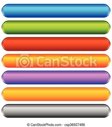 toile, ensemble, bannière, coloré, espace, bouton, backgrounds., ou, boutons, message., vide, impression, horizontal, ton, vif - csp36937486
