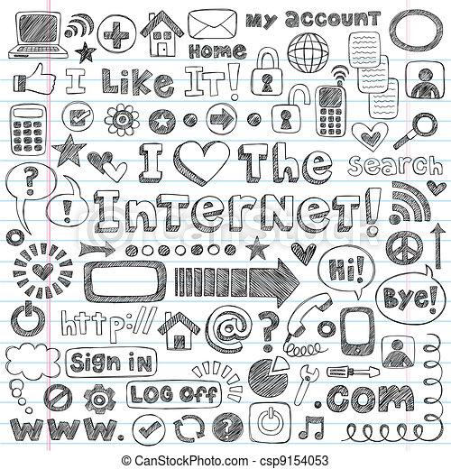toile, ensemble, griffonnage, vecteur, icône internet - csp9154053