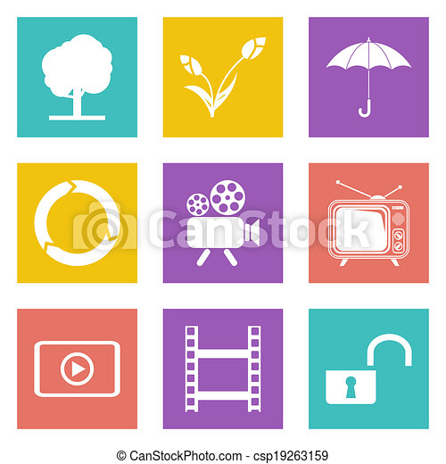toile, ensemble, icônes, couleur, 44, conception - csp19263159
