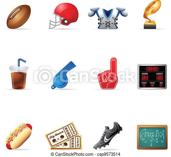 toile, football américain, -, icônes - csp9573514