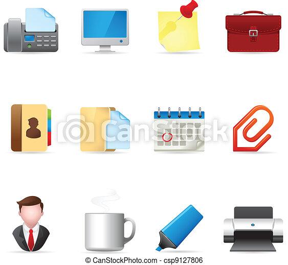 toile, -, icônes bureau - csp9127806