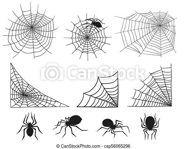 Toile Silhouette Nature Spooky Halloween Araignés élément Décoration Vecteur Toile Araignée Araignées Net Peur