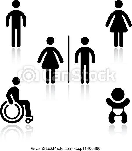 Toilet black set pictograms - csp11406366