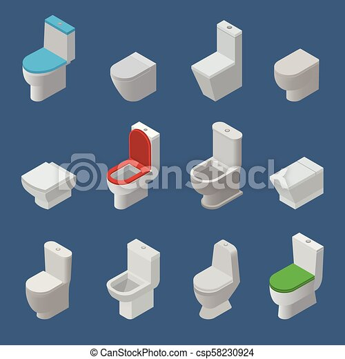 Toilet bowl and seat vector isometric icons toiletries flush and bathroom ceramic equipment or sanitary toilette in wc closet or lavatory with toiletware illustration isolated on background - csp58230924