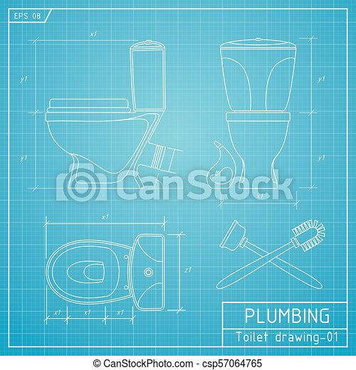 Toilet Bowl Outline Front Side And Top View Vector Illustration