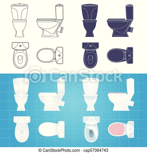 toilet bowl silhouette front side and top view https www canstockphoto com toilet bowl silhouette front side and 57064743 html