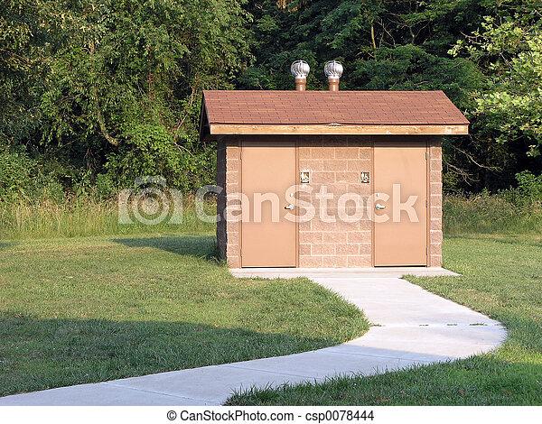 Toilet, buiten. Badkamer, buiten, rend, zuidelijk, park, meer ...