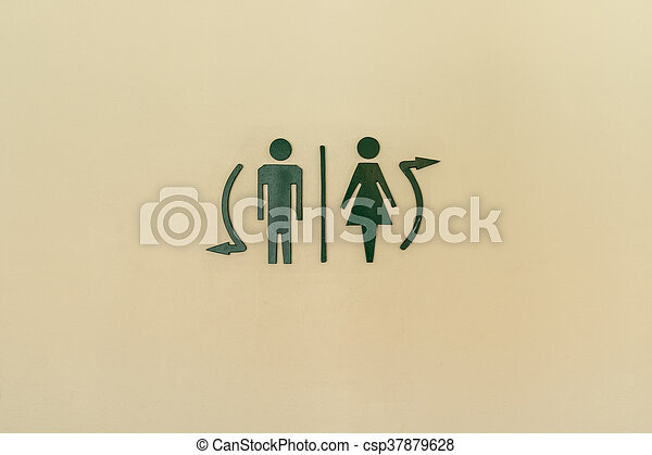 Toilet label on wall - csp37879628