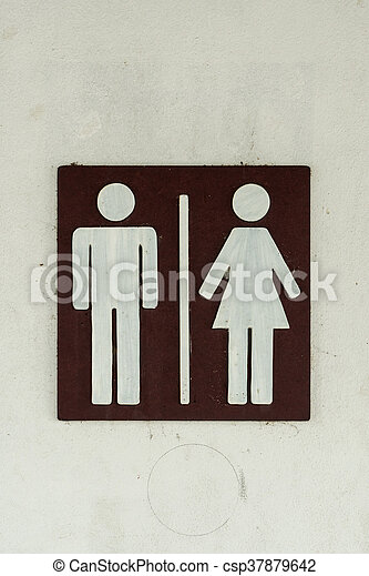 Toilet label on wall - csp37879642