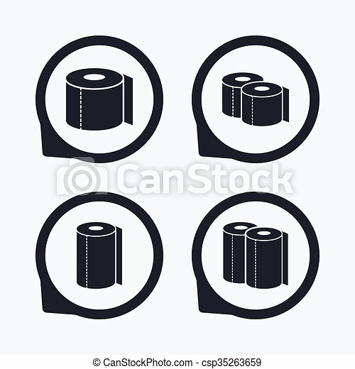 Toilet Paper Icons Kitchen Roll Towel Symbols Wc Paper Signs Flat
