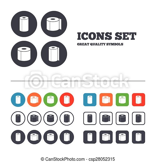 Toilet Paper Icons Kitchen Roll Towel Symbols Wc Paper Signs Web