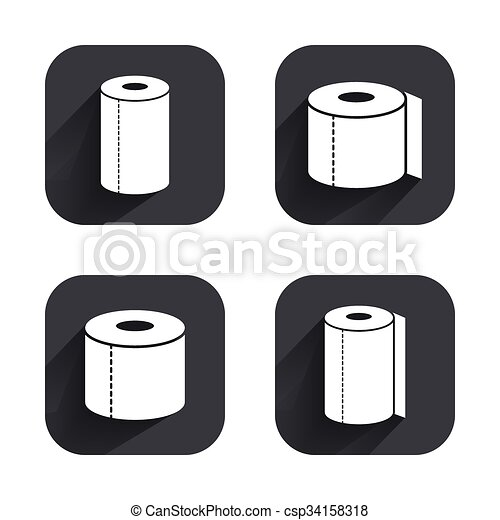 Toilet Paper Icons Kitchen Roll Towel Symbols Wc Paper Signs