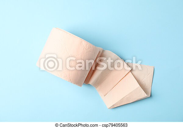 Toilet paper on blue background, top view - csp79405563