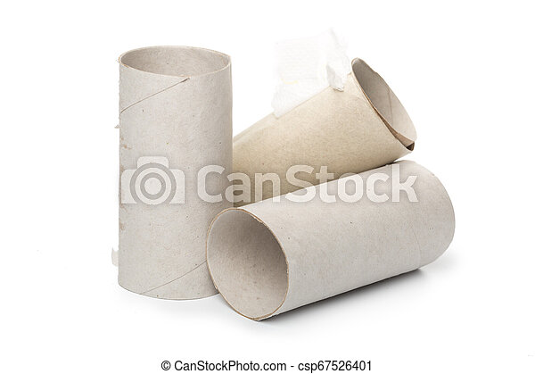 toilet paper on white background - csp67526401
