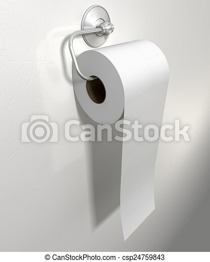 Toilet Roll On Chrome Hanger A Roll Of White Toilet Paper Hanging