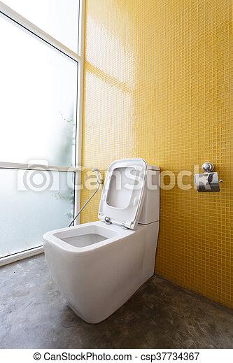 Toilette, Badezimmer, Wand, Modern, Gelber , Dekoration, Erröten,  Inneneinrichtung,