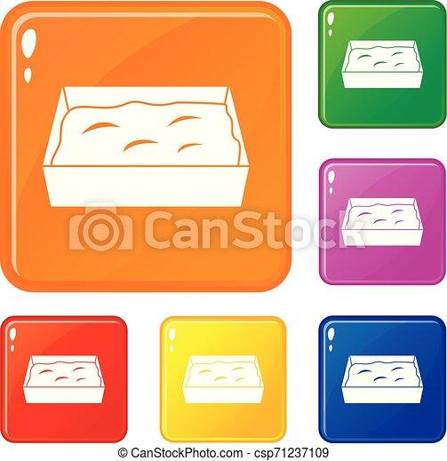 toilette, ensemble, icônes, couleur, chat, vecteur - csp71237109