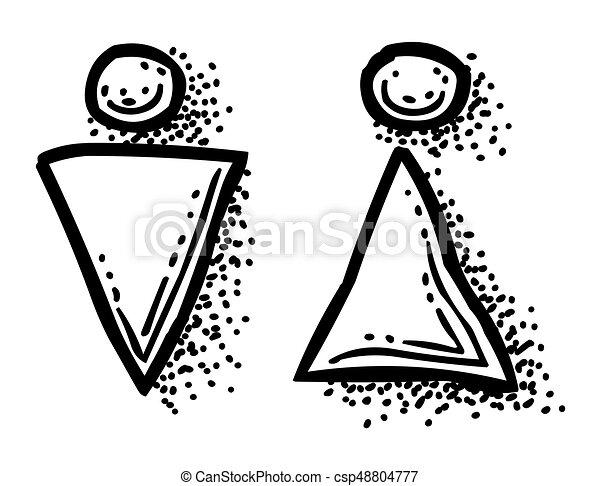 Toilette Frau Bild Karikatur Icon Mann Symbol Toilette Frau