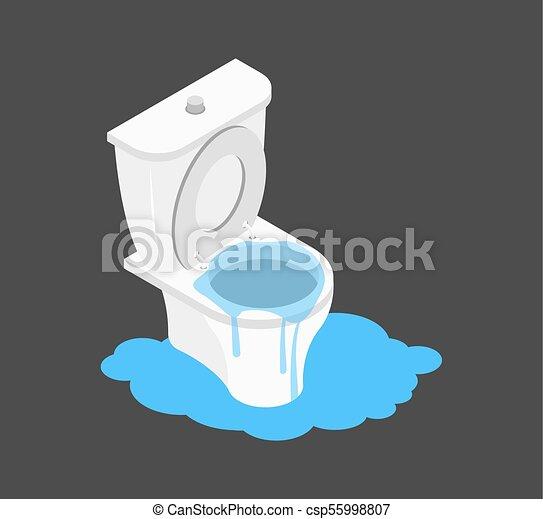 Toilette Klo Canalization Abfall Verstopfte Leakage Isometry