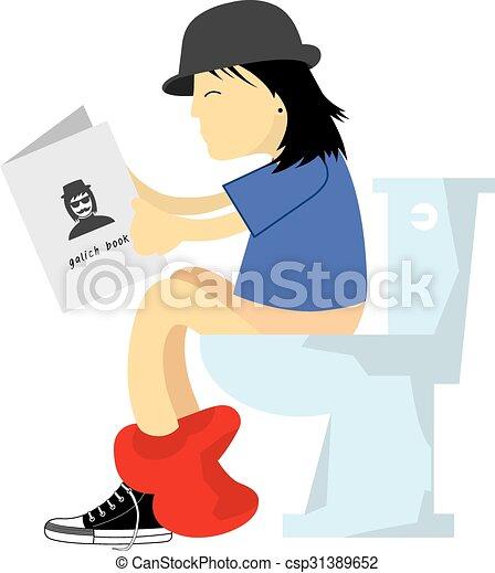 Toilette Mann Toilette Vektor Karikatur Mann