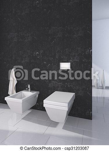 Inneneinrichtung, toilette, modern, szene.