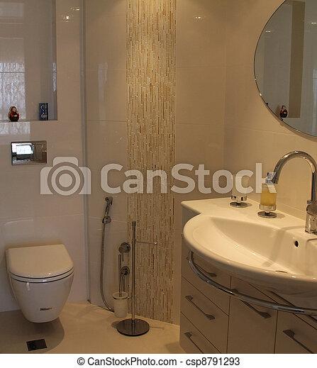 Toilette, Moderne. Maison, Moderne, Toilette Photos De Stock