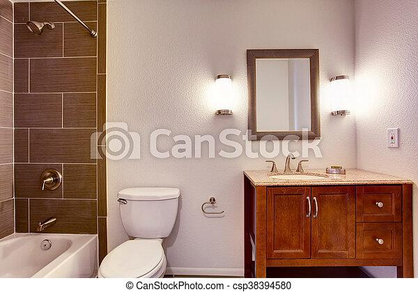 Toilette, salle, mur, douche, moderne, intérieur, carreau, cabinet ...