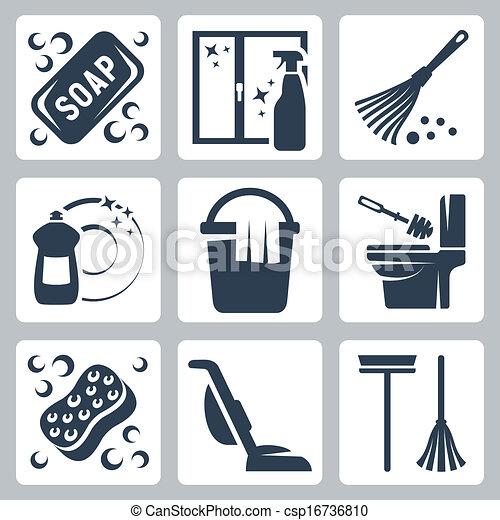 toilette, savon, liquide, dishwashing, nettoyeur, icônes, chiffon, éponge, essuyer seau, embraser, fenêtre, vecteur, tissu nettoyage, vide, set:, toilette, brosse - csp16736810