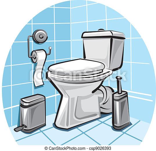 Dessin Wc salle, toilette.