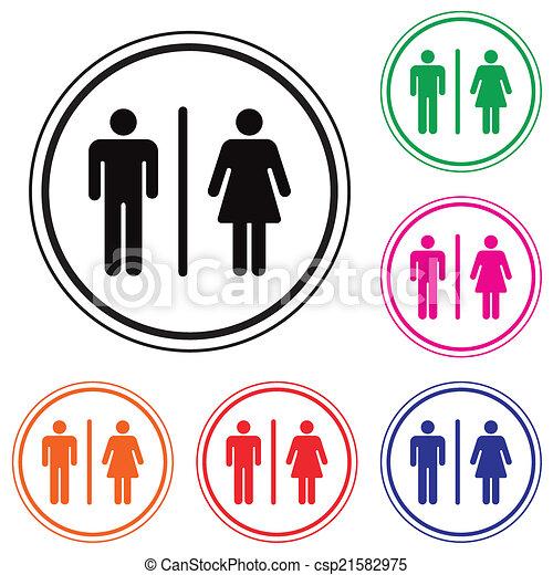 Toilettes Symbole Mâle Femme Icône Couleur Symbole Toilettes