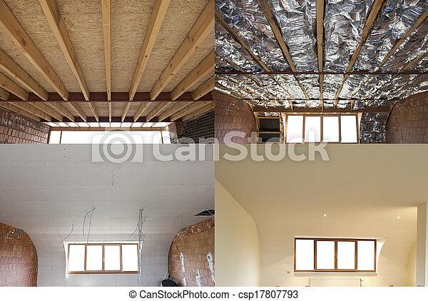 toit, étapes, construction - csp17807793