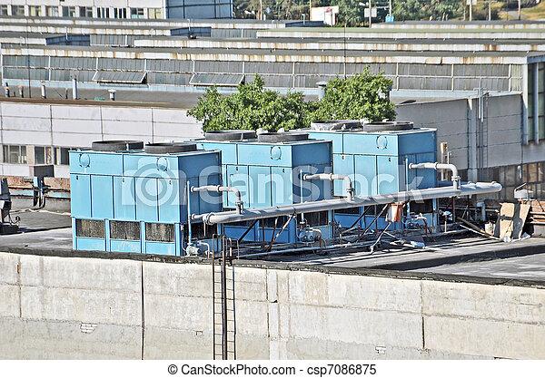 toit, conditionnement, industriel, systèmes ventilation, air - csp7086875