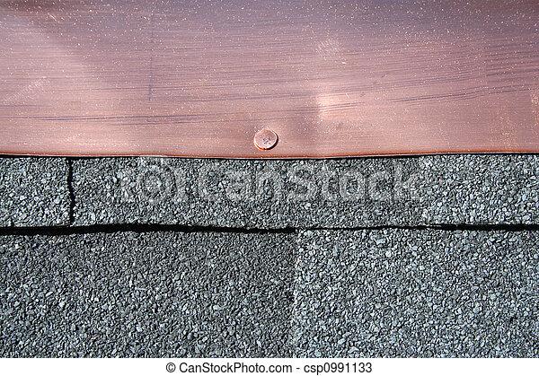 Toiture, asphalte, cuivre, zona, noir, clignotant.