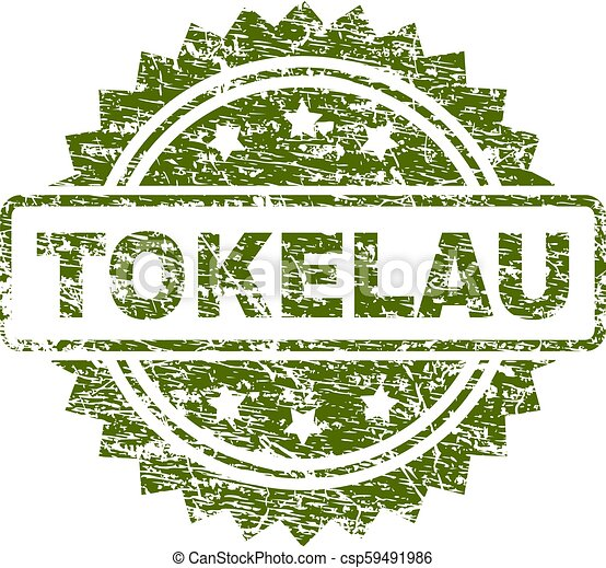 tokelau, 切手, textured, グランジ, シール - csp59491986
