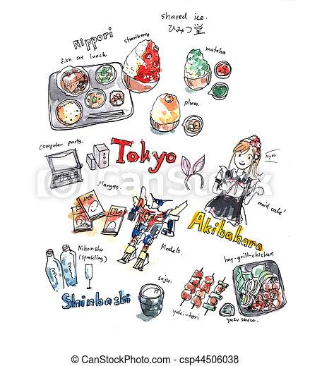 Tokyo 食物 いたずら書き イラスト 水彩画 経験 記憶 楽しみ