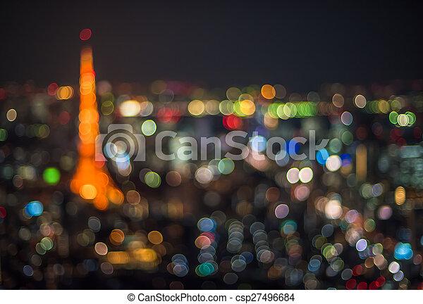 Tokyo night scene, defocused background - csp27496684