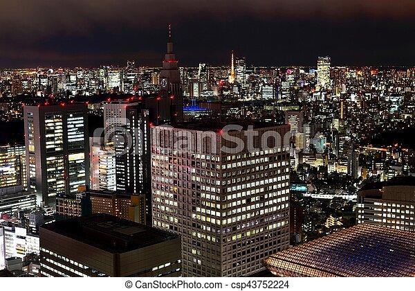 Tokyo skyline at night of Shinjuku area. - csp43752224