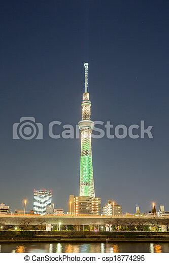 Tokyo skytree Tower at dusk - csp18774295