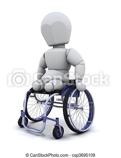 tolószék, amputált beteg - csp3695109