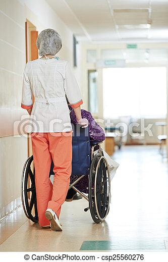 tolószék, türelmes, ápoló, öregedő - csp25560276