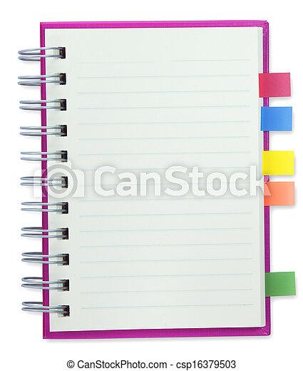 tom, anteckningsbok, rosa, täcka - csp16379503