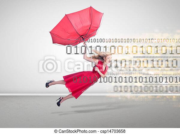 tom, kvinna, flygning, rum - csp14703658