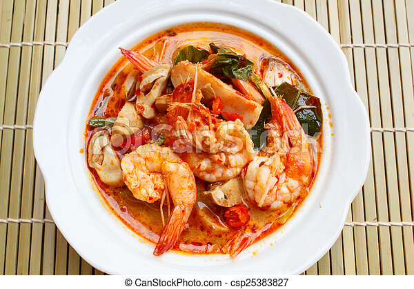 Tom Yum Goong, spicy soup with shrimp. - csp25383827