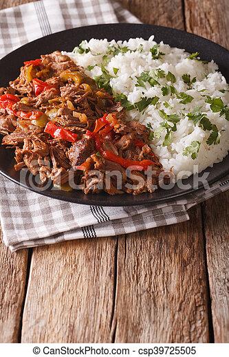 tomaat, mexicaanse , vieja:, rundvlees, verticaal, voedingsmiddelen, groentes, ropa, stoofvlees, rice., saus - csp39725505