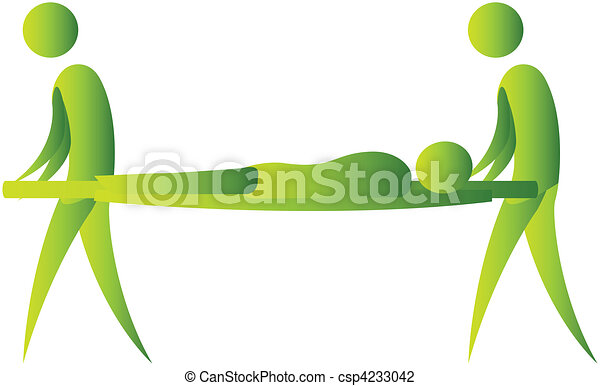 Humano tomado en una camilla por dos personas - csp4233042