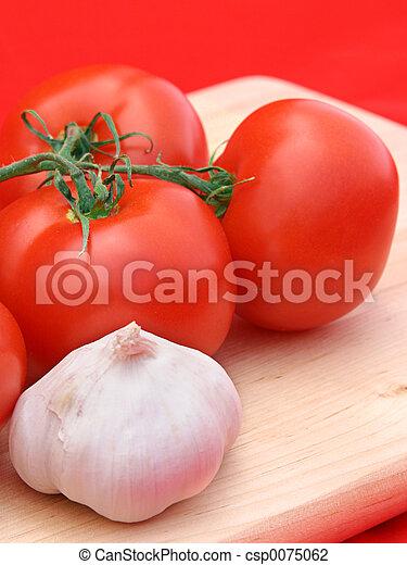 tomate, alho, vermelho, & - csp0075062