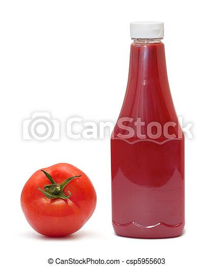 tomate, blanco, botella, plano de fondo, salsade tomate - csp5955603